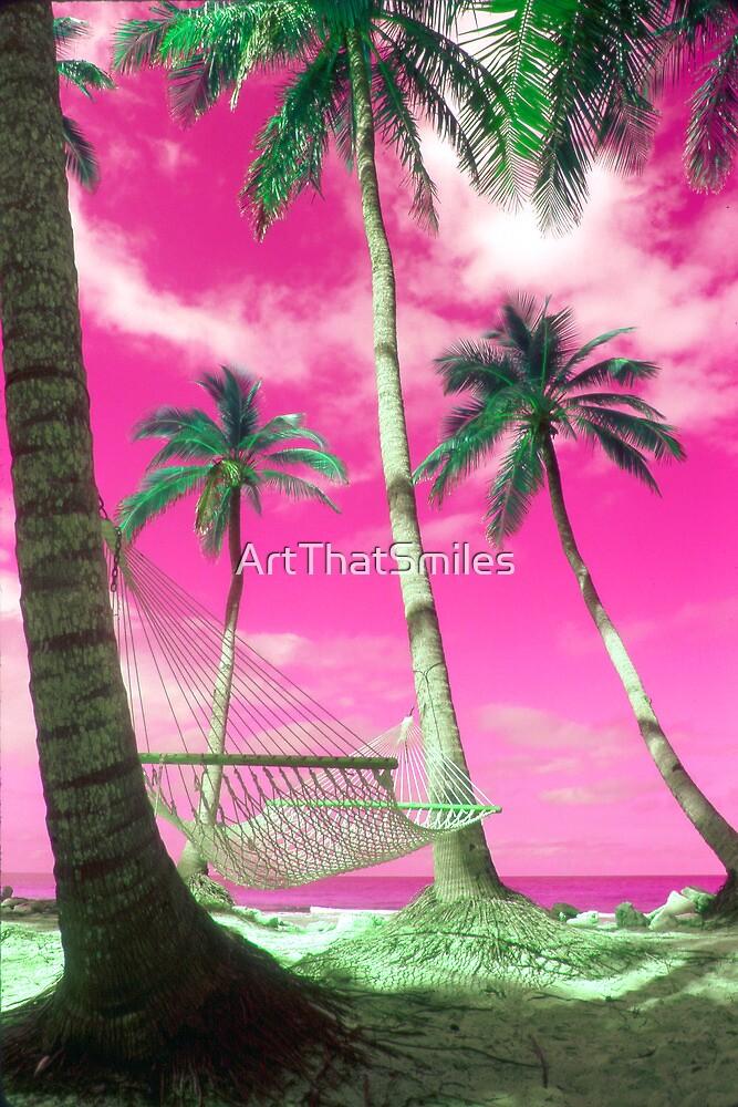 """Happy Hammock"" - tropics in pink by ArtThatSmiles"