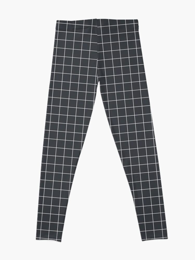 Alternate view of Grid pattern on dark blue Leggings