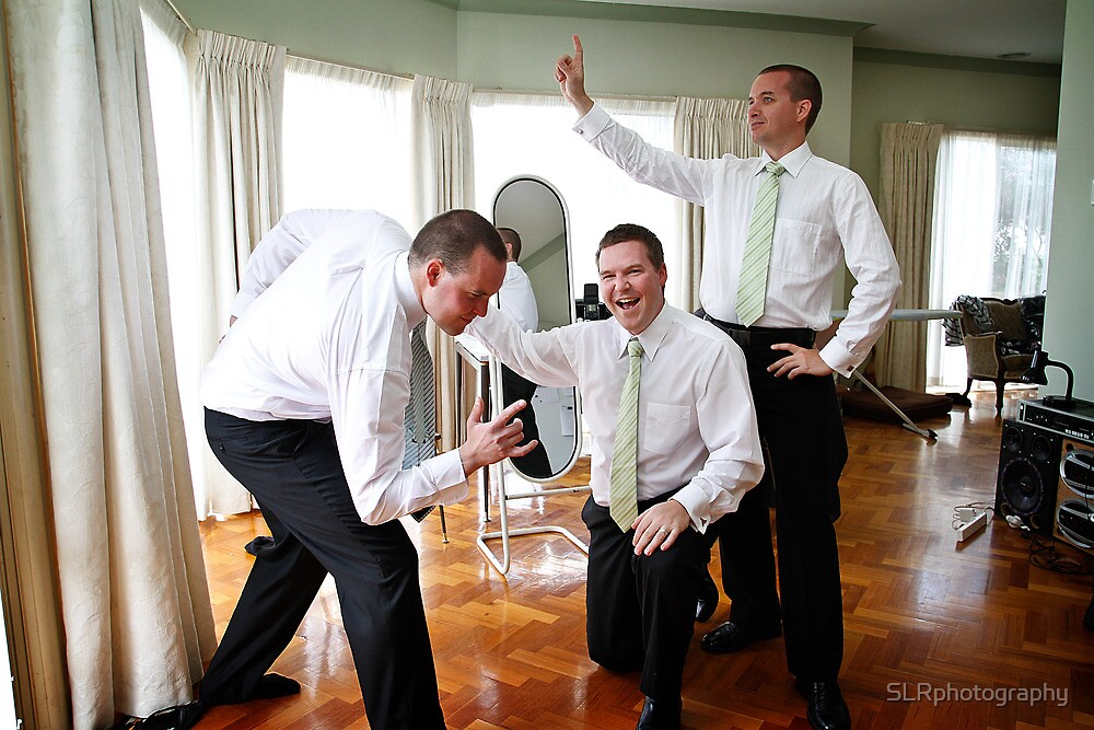 Goofing around with the Groom and Groomsmen by SLRphotography