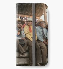 Crow Native Americans watching the rodeo at Crow fair in Montana, 1941 iPhone Wallet/Case/Skin