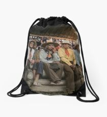 Crow Native Americans watching the rodeo at Crow fair in Montana, 1941 Drawstring Bag
