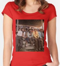 Crow Native Americans watching the rodeo at Crow fair in Montana, 1941 Fitted Scoop T-Shirt