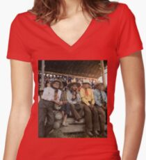 Crow Native Americans watching the rodeo at Crow fair in Montana, 1941 Fitted V-Neck T-Shirt