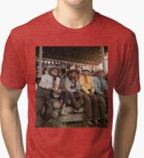 Crow Native Americans watching the rodeo at Crow fair in Montana, 1941 Tri-blend T-Shirt