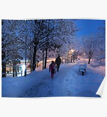 On Their Way Home One Winter Afternoon Poster
