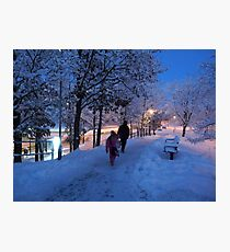 On Their Way Home One Winter Afternoon Photographic Print