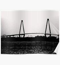 Cooper River Bridge Black & White Poster