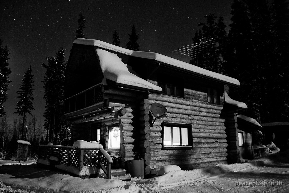 Our Cabin House  in Black and White by peaceofthenorth
