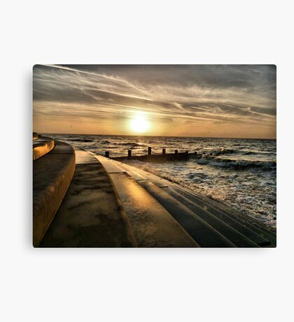 Golden Sunset - Cleveleys . Canvas Print