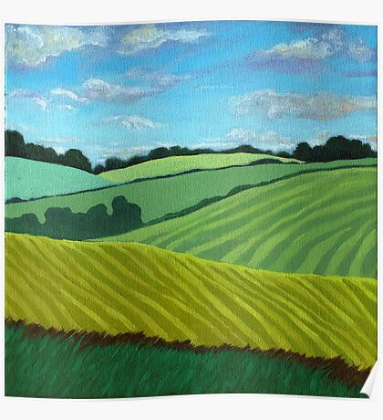 Summer Fields - landscape oil painting Poster