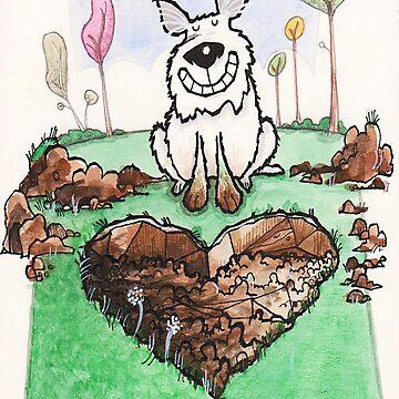 A love heart diggin' dog by dotmund
