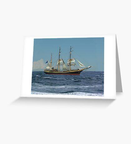 Under Short Sail Greeting Card