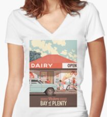 Corner Dairy Women's Fitted V-Neck T-Shirt