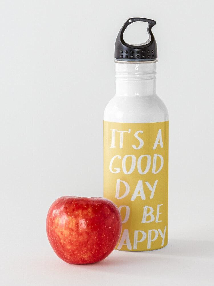 Alternate view of It's a Good Day to Be Happy in Yellow Water Bottle