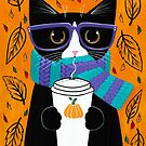 Tuxedo Autumn Coffee Cat by Ryan Conners