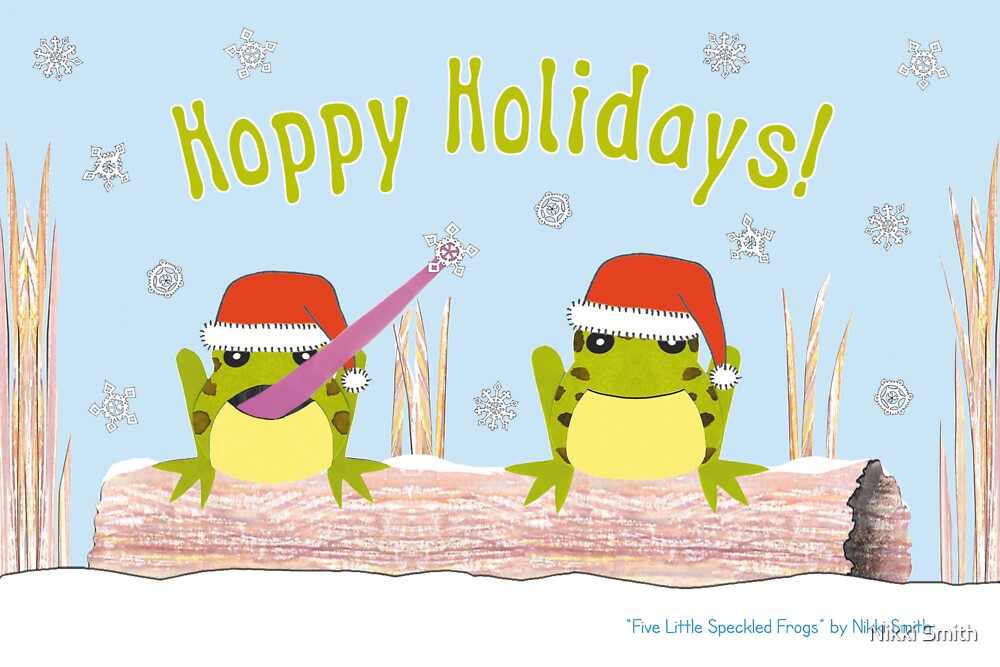 Hoppy Holidays - Frog Greeting Card by Nikki Smith