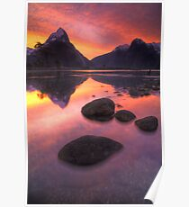 Milford Sound sunset Poster