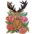Stag Head & Roses by kirsten-designs