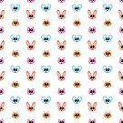 Cute Rabbit, Mouse and Cat Cartoon Icon Pattern by Michelle Still Artist