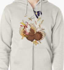 Funny Turkey escape Thanksgiving Character Zipped Hoodie
