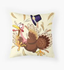 Funny Turkey escape Thanksgiving Character Throw Pillow