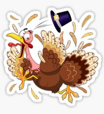 Funny Turkey escape Thanksgiving Character Sticker