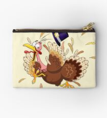 Funny Turkey escape Thanksgiving Character Zipper Pouch