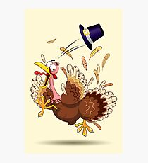 Funny Turkey escape Thanksgiving Character Photographic Print