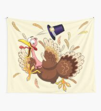 Funny Turkey escape Thanksgiving Character Wall Tapestry