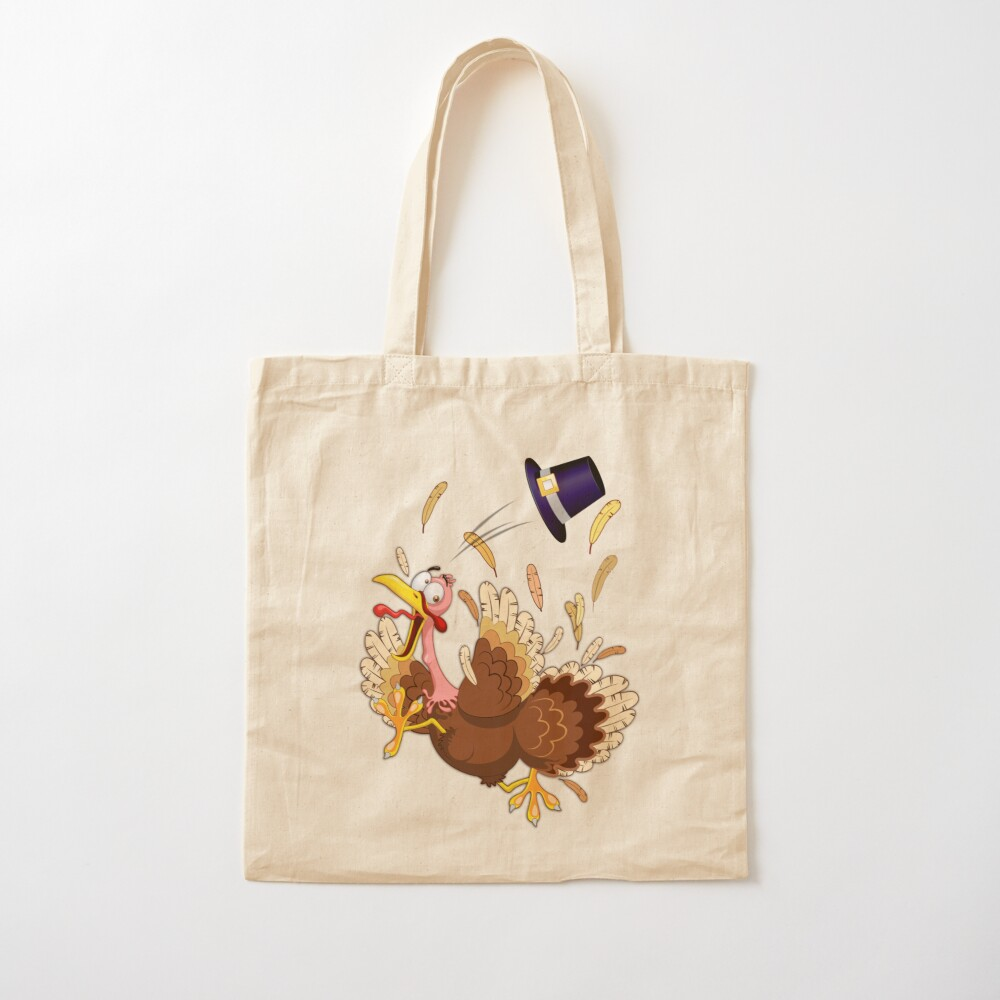 Funny Turkey escape Thanksgiving Character Cotton Tote Bag