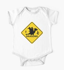 Funny Beware of Dragons Traffic Sign One Piece - Short Sleeve