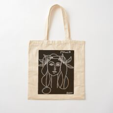 HEAD : Vintage 1946 Young Girl Silhouette Print by Picasso Cotton Tote Bag