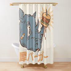 Rhino Burger Kanji Shower Curtain