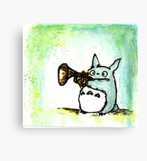 Totoro Watercolour (Trumpet) -Studio Ghibli Canvas Print
