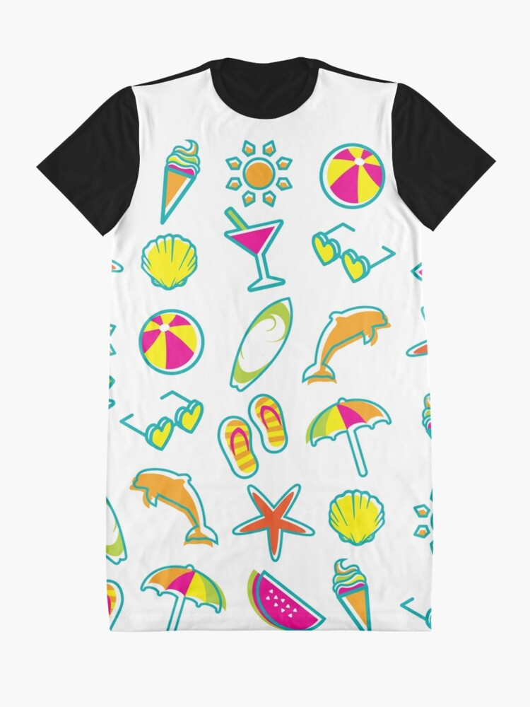 Alternate view of Summer Fun Beach Icons Graphic T-Shirt Dress