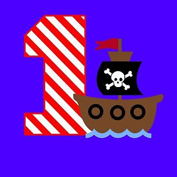 Customizable pirate first birthday geek funny nerd by antoharjo