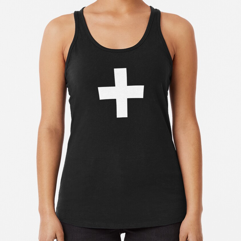 Crosses | Criss Cross | Swiss Cross | Hygge | Scandi | Plus Sign | Black and White |  Racerback Tank Top