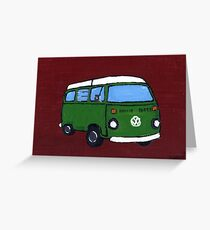 Green VW camper Greeting Card