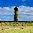 Rapa Nui - top knot on Moai with coral eyes on Easter Island by renprovo