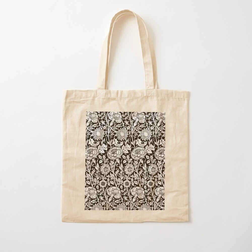 William Morris Carnations   Black and White Floral Pattern   Flower Patterns   Vintage Patterns   Classic Patterns   Cotton Tote Bag