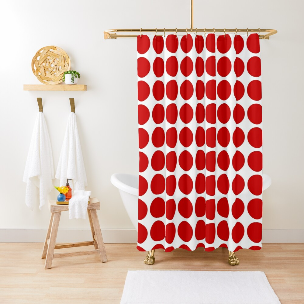 Red Dots Pattern Red & White Shower Curtain