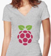 Raspberry Fan [HD] Women's Fitted V-Neck T-Shirt