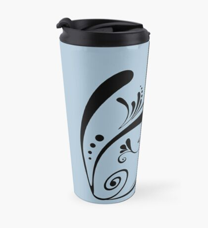 Cute Cool Fish Swimming with Twirls and Heart  Travel Mug
