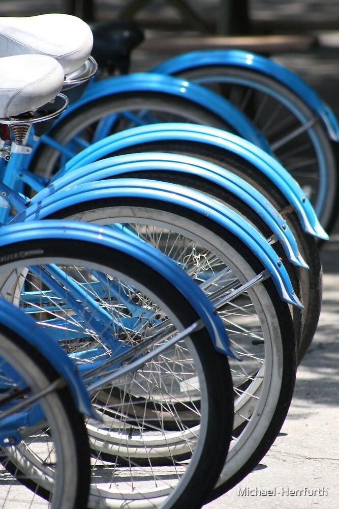 Blue Bikes by Michael  Herrfurth