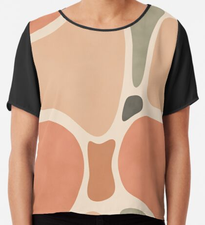 Terracotta Shapes #redbubble #abstractart Chiffon Top