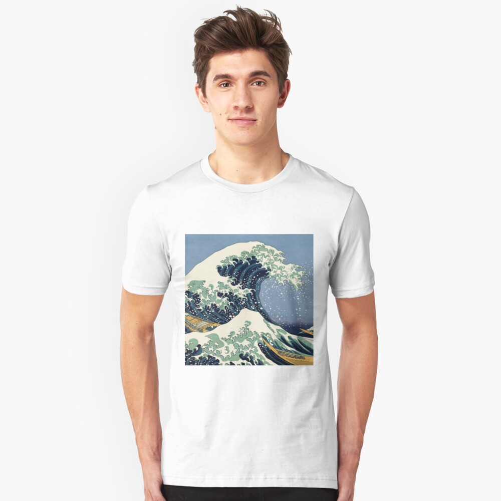 The Great Wave by Katsushika Hokusai Slim Fit T-Shirt