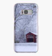 Snow Adorns The John Burrows Covered Bridge Samsung Galaxy Case/Skin