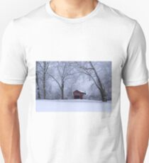 Snow Adorns The John Burrows Covered Bridge T-Shirt