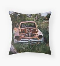 Car in the Home Paddock_2 Throw Pillow