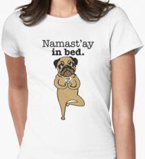 yoga pug Womens Fitted T-Shirt